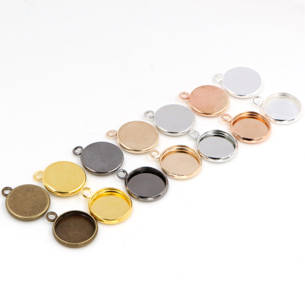 50pcs 12mm Inner Size Bright Silver Plated Rhodium Rose Gold Colors High Quality Iron Material Cameo Setting Pendant Tray