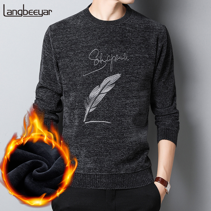 2019 Thick Velvet New Fashion Brand Sweater Men's Pullover Slim Fit Jumpers Knit Warm Autumn Korean Style Casual Mens Clothes