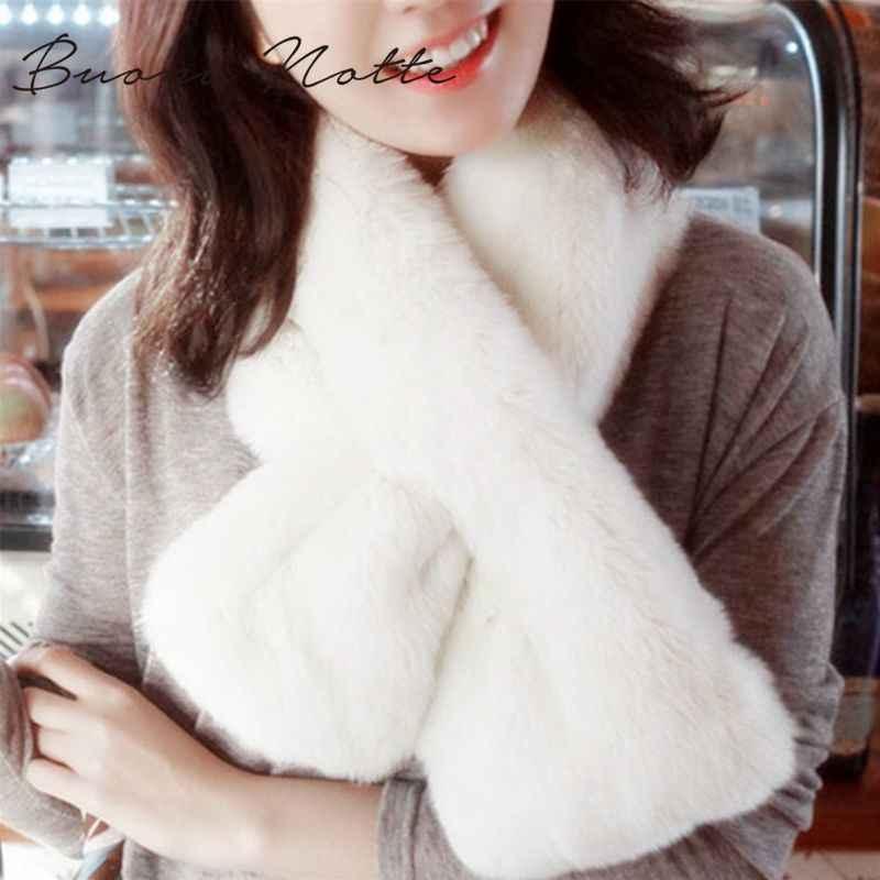 Mujer invierno Thicken felpa Faux conejo piel bufanda Color sólido Collar chal cuello caliente Shrugs punto cuello largo envolturas