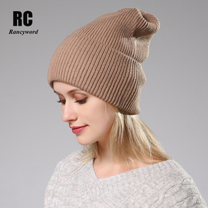 Image 2 - 2020 New Winter Solid Color Wool Knit Beanie Women Fashion Casual Hat Warm Female Soft Thicken Hedging Cap Slouchy Bonnet Ski