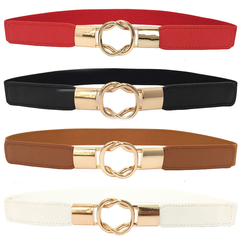 1PC Black Metal Buckle Slim Stretchy Waist Belt Elastic Bride Waistband Girdle PU Leather Elastic Dress Accessories Belts Red