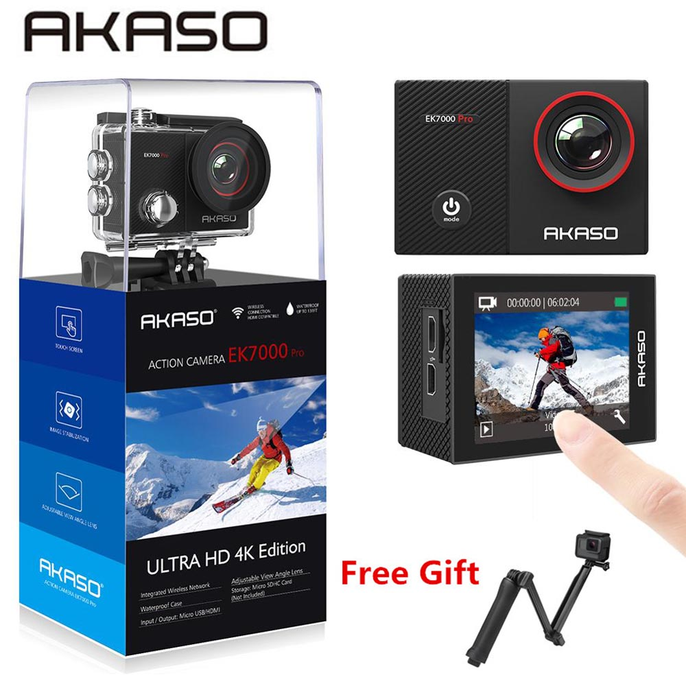 AKASO Go EK7000 Pro 4K Action Camera with Touch Screen EIS Adjustable View Angle 40m diving Camera Remote Control Sports Camera image