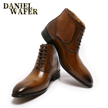 Luxury Men Ankle Boots Genuine Leather Shoes Fashion Printed Medallion Lace Up Pointed Toe Dress Wedding Office Basic Boots Men us6 10 crocodile grain round toe boots men full grain leather lace up office shoes retro winter man formal dress ankle boots