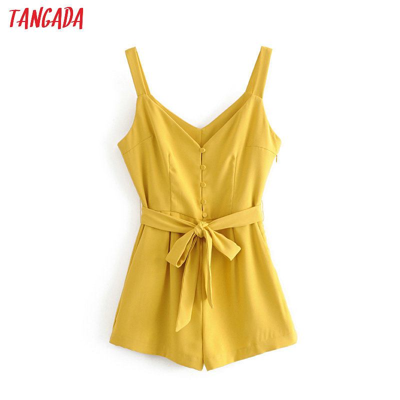 Tangada Fashion Women Yellow Summer Playsuit Backless Slash Short Sleeve Buttons Female Sexy Beach Playsuit 6M07