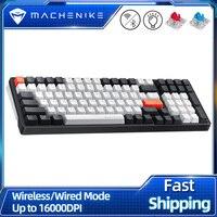 Machoike K600 tastiera meccanica Wireless Bluetooth Gaming 100 tasti retroilluminazione bianca Design ergonomico per Mac Windows