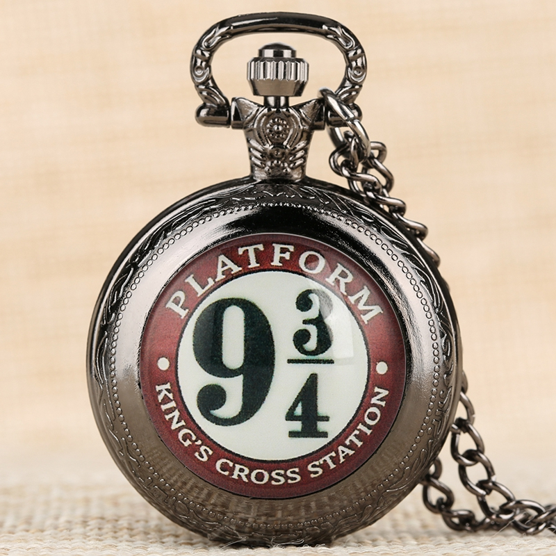Movie Extension Theme 9 3/4 Platform King's Cross London Quartz Pocket Watch Necklace Pendant Retro Souvenir Gifts For Men Women