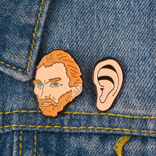 Cartoon Van Gogh Enamel Pins Artist Brooches Van Gogh & Ear Lapel pin Brooches Badges Lapel pins la oreja de van gogh yucatan