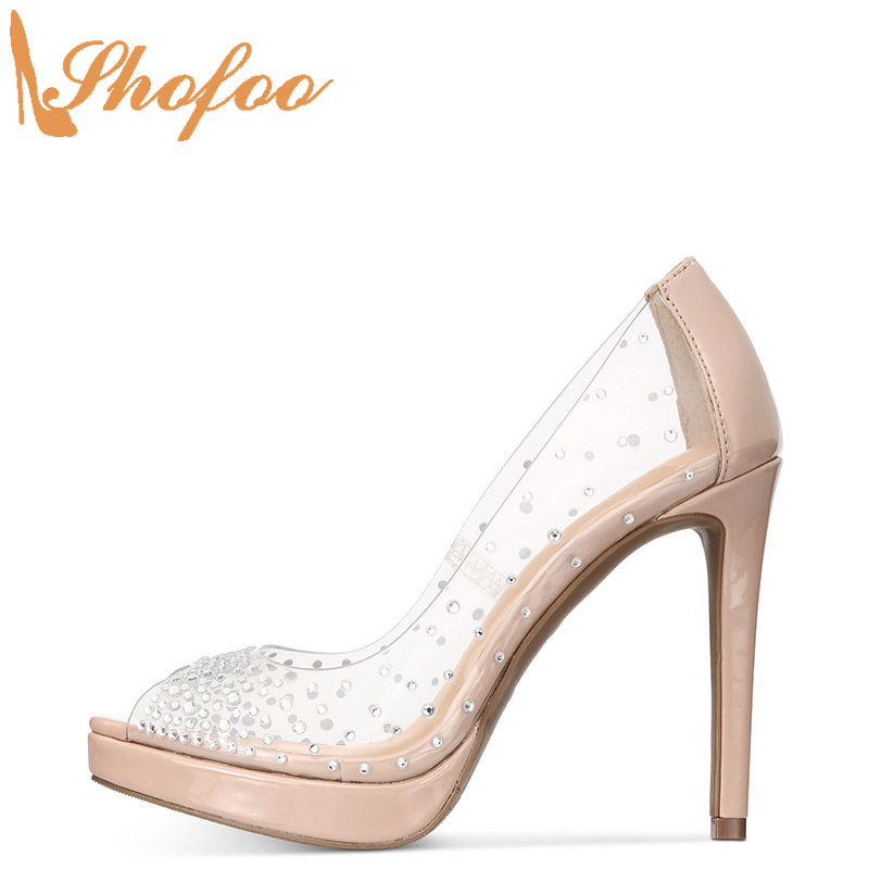 Nude Clear Platform Stilettos High Heels Peep Toe Pumps Woman Slip-on Ladies Shoes Plus Size 13 16 Mature Fashion Crystal Shofoo