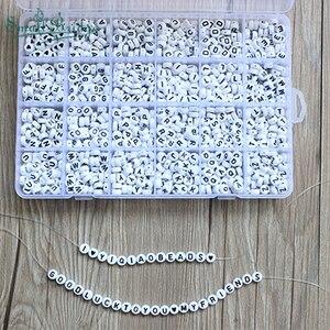 Image 1 - 1200 шт. кубические Акриловые Бусины, буквы для детей, сделай сам, ожерелье, браслеты, материал из бисера, пластиковые бусины с буквами, набор коробок