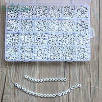1200pcs Cube Acrylic Beads Letter for Kid Diy Necklace Bracelets Beaded Material Plastic Alphabet Beads set of box