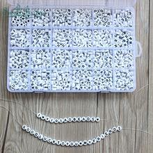 Ensemble de 1200 perles cubes en acrylique, lettres pour enfants, Bracelets, matériau en plastique, Alphabet en plastique, collier à faire soi même pièces, boîte