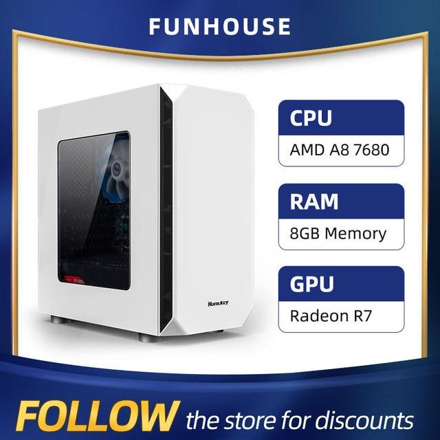 Athlon AMD A8 7680 8G RAM 120G SSD Home Office Computer Assembly Computer Complete DIY Desktop Computer host DIY Cheap Gaming PC