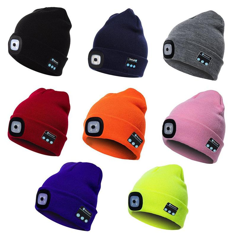 Bluetooth Blue Knitted Hat With Led Light Cap, Led Outdoor Climbing Led Hat  Rechargeable Warm Hat Beanie Knitting Hiking Cap