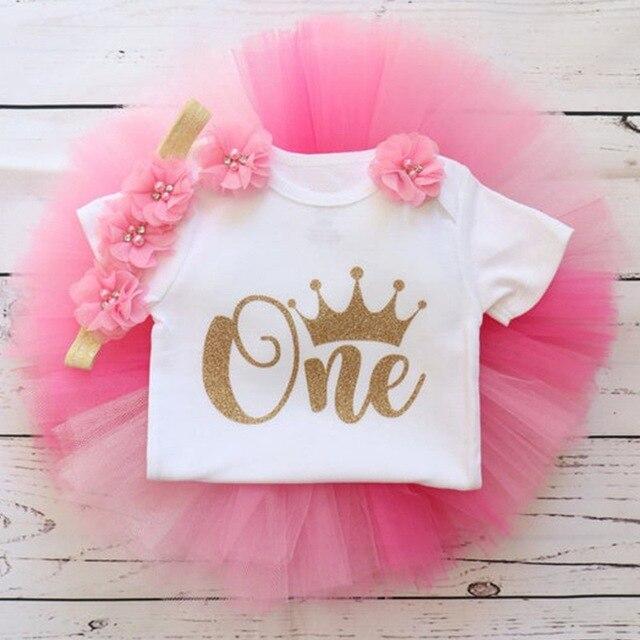1 Year Girl Baby Birthday Dress Romper+Tutu Dress+Headband Cheap Newborn Clothes 12Months Christening Gown Toddler Unicorn Dress 4
