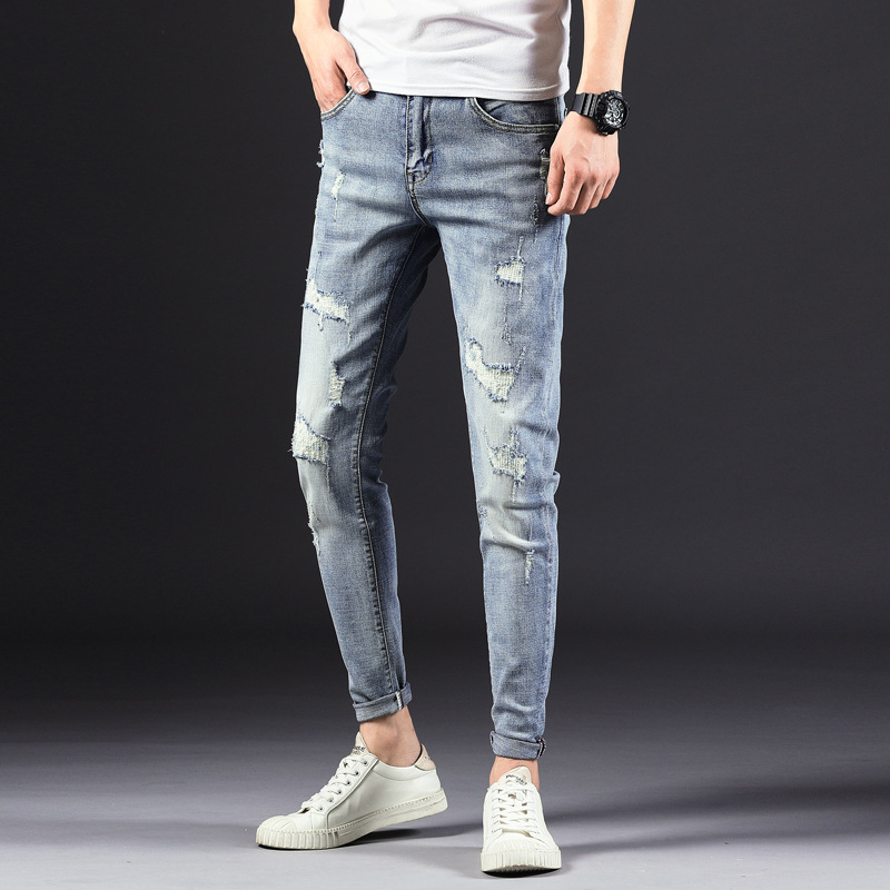 Shoppe Quality 2019 Spring New Style Men With Holes Jeans Korean-style Trend Slim Fit Pants Casual Pants Men's