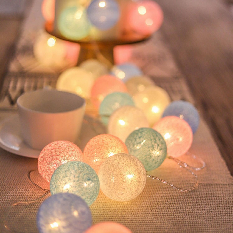 10Leds Cotton Ball String Light Fairy Light Indoor Wedding Decoration Holiday Garland Christmas Party Bar Bedroom Kids Light