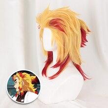 Perruques Kimetsu no Yaiba Rengoku Kyoujurou, perruque de Cosplay Anime, perruque de cheveux mixtes