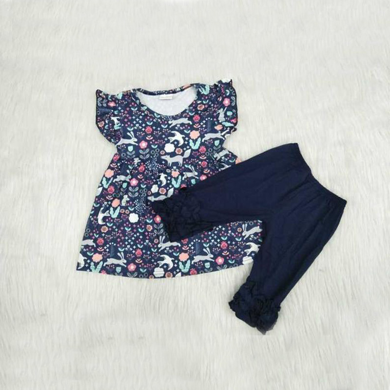 0 8 Years Fancy Baby Clothes Outfits 2pcs Set Floral Print Tops For Girls Black Pants Legging Kids Girls Clothing Set in Clothing Sets from Mother Kids