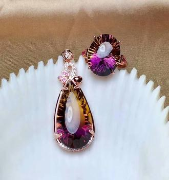 shilovem 925 sterling silver piezoelectric ametrine pendants rings fine Jewelry send necklace wedding gift new mtz1216132500agzj
