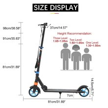 Adjustable Height Foldable Handbrake Scooter Aluminum Alloy Road Ride Skateboard hoverboards Adult Scooters 80kg Red/Blue