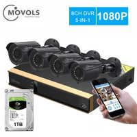 Movols 8CH CCTV камера система 4 шт 1080p наружная Всепогодная камера безопасности DVR комплект День/Ночь домашняя система видеонаблюдения