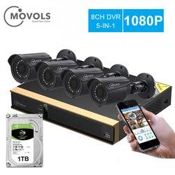 Movols 8CH CCTV camera Systeem 4 STUKS 1080p Outdoor Weerbestendige Bewakingscamera DVR Kit Dag/Nacht Home Video surveillance Systeem