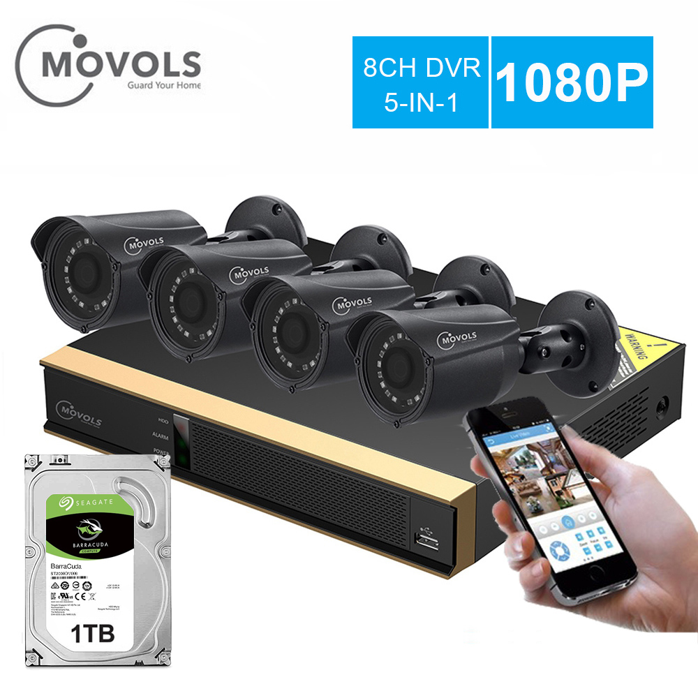 Movols 8CH CCTV camera System 4PCS 1080p Outdoor Weatherproof Security Camera DVR Kit Day Night Home