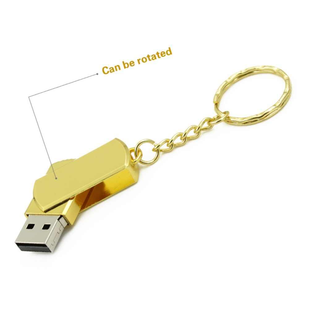 Impermeabile USB Flash Drive In Metallo Pen Drive 8GB 16GB 32GB 64GB 128GB Pendrive USB Bastone reale di 100% di Alta qualità Flash Drive Oro