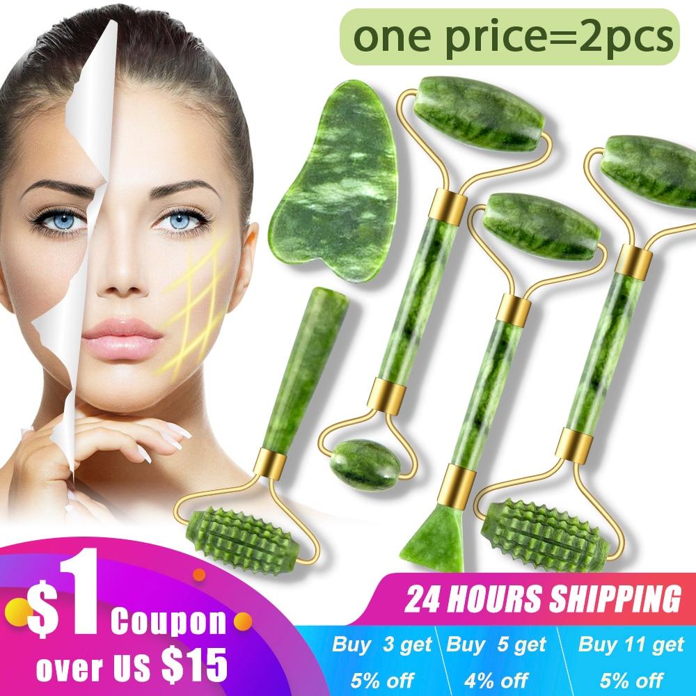 2pcs massageadores de jade para rosto corpo gua sha raspador beleza rolo facial conjunto de pedra natural guache massagem emagrecimento cuidados com a pele lift 1
