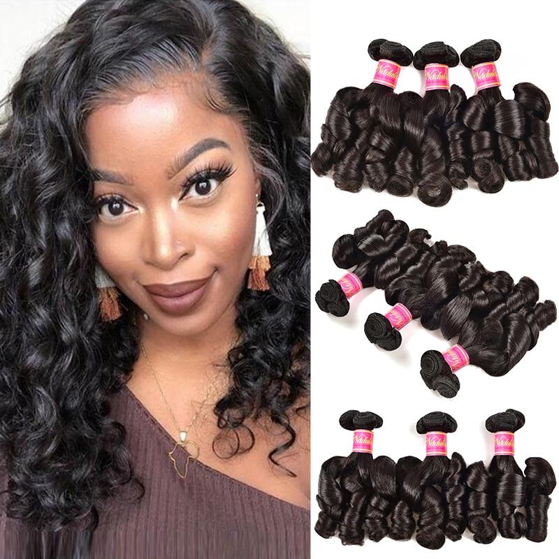 Nadula Hair Bouncy Funmi Curls Double Drawn Hair High Ratio 3 / 4 Bundles Curly  Wave 1PCS  Hair s 2