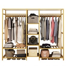 Wardrobe Simple Modern Economical Assembled Wardrobe Solid Wood Bedroom Space Simple Fabric Closet Single Adult