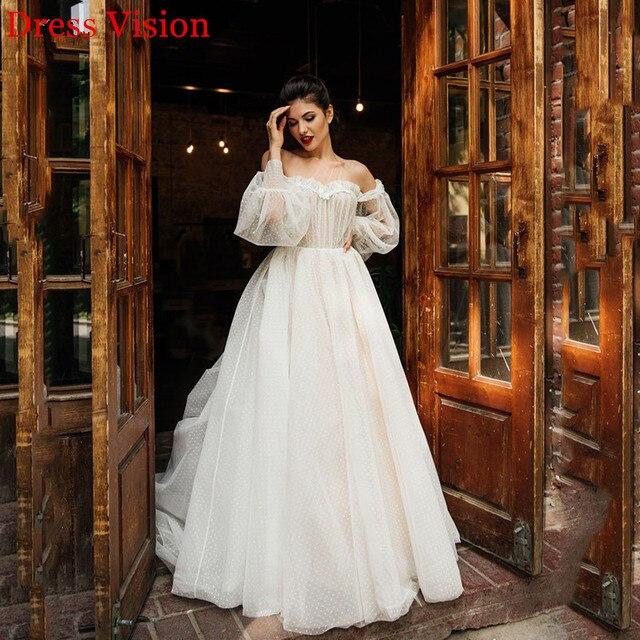 Lace Light Wedding Dress платья Bride Gown Vestido De Novia Robe De Mariage Vestidos Sweetheart Collar Off Shoulder Long Sleeves 3