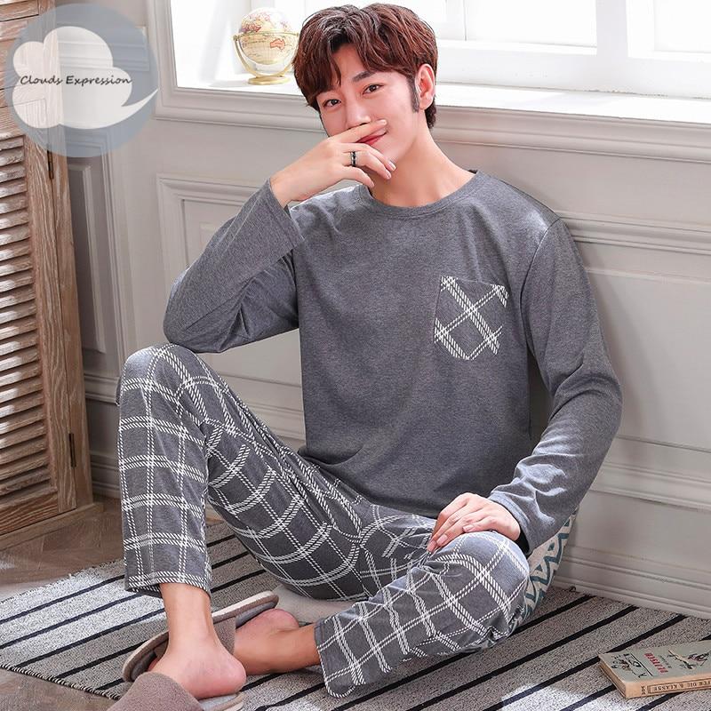 Autumn Winter Knitted Cotton Cartoon Men's Pyjamas Striped Pajamas Set Casual Male Sleepwear Pyjamas Night Pijamas 3XL Homewear