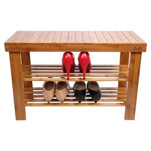 Image 2 - 2 camadas moderno e minimalista sapato rack sapatos bancada sapato parafusos de armazenamento de madeira maciça armário sapato prateleiras de sapato de bambu