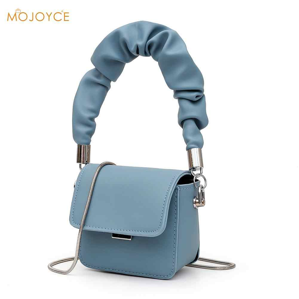 Pleated Handbag BagCrocodile Pattern Textured Box Bucket Shoulder Messenger Bag