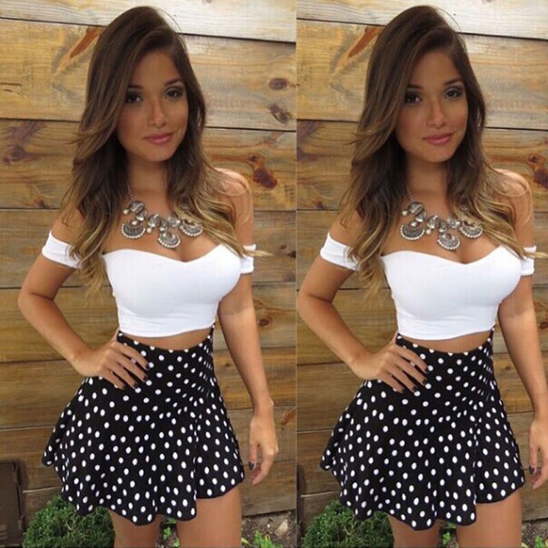 Summer 2020 Women's Sets Simple Off Shoulder Bodycon Casual Crop Top Two Piece Skirts Female Solid Top Mini Dot Print Skirt Sets
