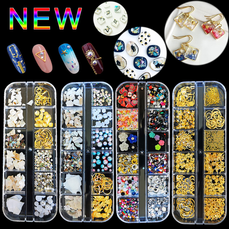 1Case Gold Silver Hollow 3D Nail Art Decorations Mix Metal Frame Nail Rivets Shiny Charm  Manicure Accessories Studs