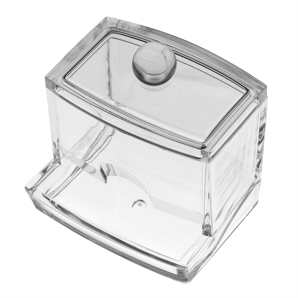 Durable Transparrent Clear Acrylic Jewelry & Cosmetic Tips Dust-free Cotton Bud Storage Display Box
