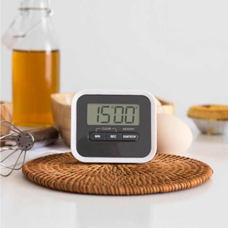 Novo 1pc lcd tela digital cozinha temporizador acessórios de cozinha quadrado contagem regressiva para cima alarme ímã relógio