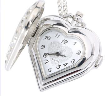 Z ażurową dekoracją kwarcowy zegarek kieszonkowy w kształcie serca naszyjnik łańcuszek z wisiorem zegar kobiety prezent XIN-Shipping tanie i dobre opinie luxfacigoo QUARTZ STAINLESS STEEL Serce ANALOG Birthday Stacjonarne Szkło Unisex Moda casual Women 13 7inch Stop Nowy bez tagów
