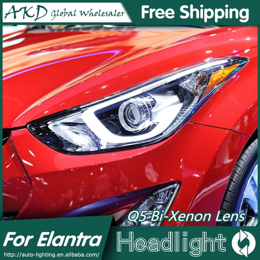 AKD Car Styling Head Lamp For Hyundai Elantra Headlights Elantra LED Headlight Korea Design DRL Bi Xenon Lens Parking Fog Lamp