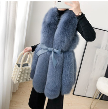 ZDFURS* Women Real Fox Fur Vest Belt Natural Fox Fur Gilets Warm Winter Ladies Luxury Fur Waistcoat