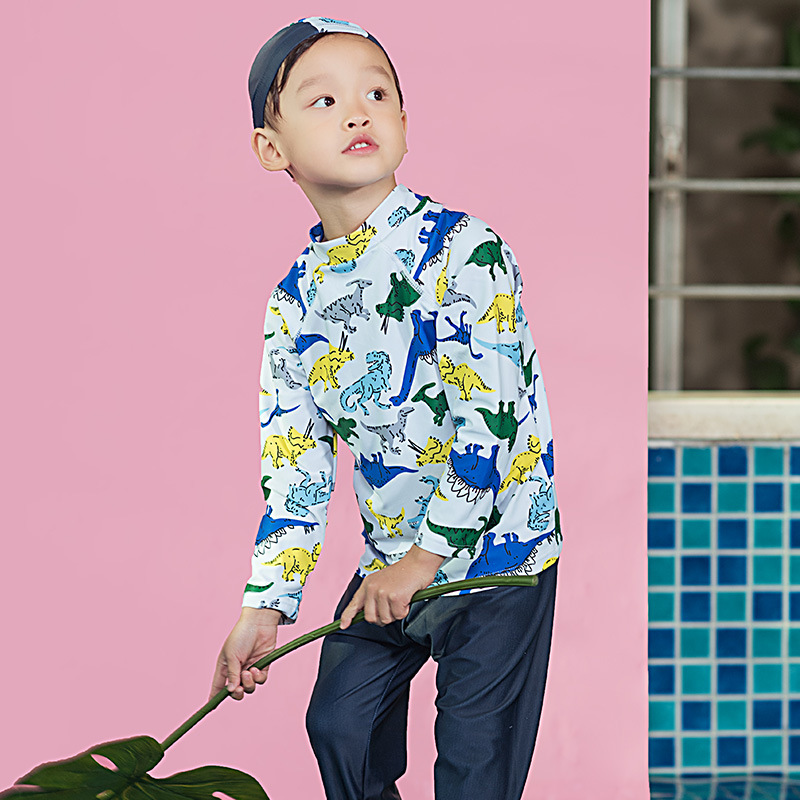Korean-style KID'S Swimwear BOY'S Cartoon Dinosaur Sun-resistant Injury Trousers Long Sleeve Diving Suit Split Type Spa Resort S