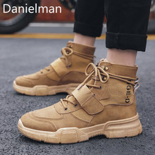 Danielman Men Work Boots 2019 Fashion Outdoor Steel Toe Cow Leather Shoes Anti Slip Puncture Proof Safety