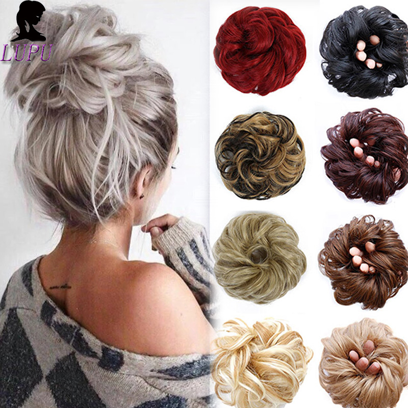 LUPU Curly Chignons Synthetic Scrunchie Natural Messy Hair Elastic Band Updo Clip Donut Buns Heat Resistant Hairpieces Headwear