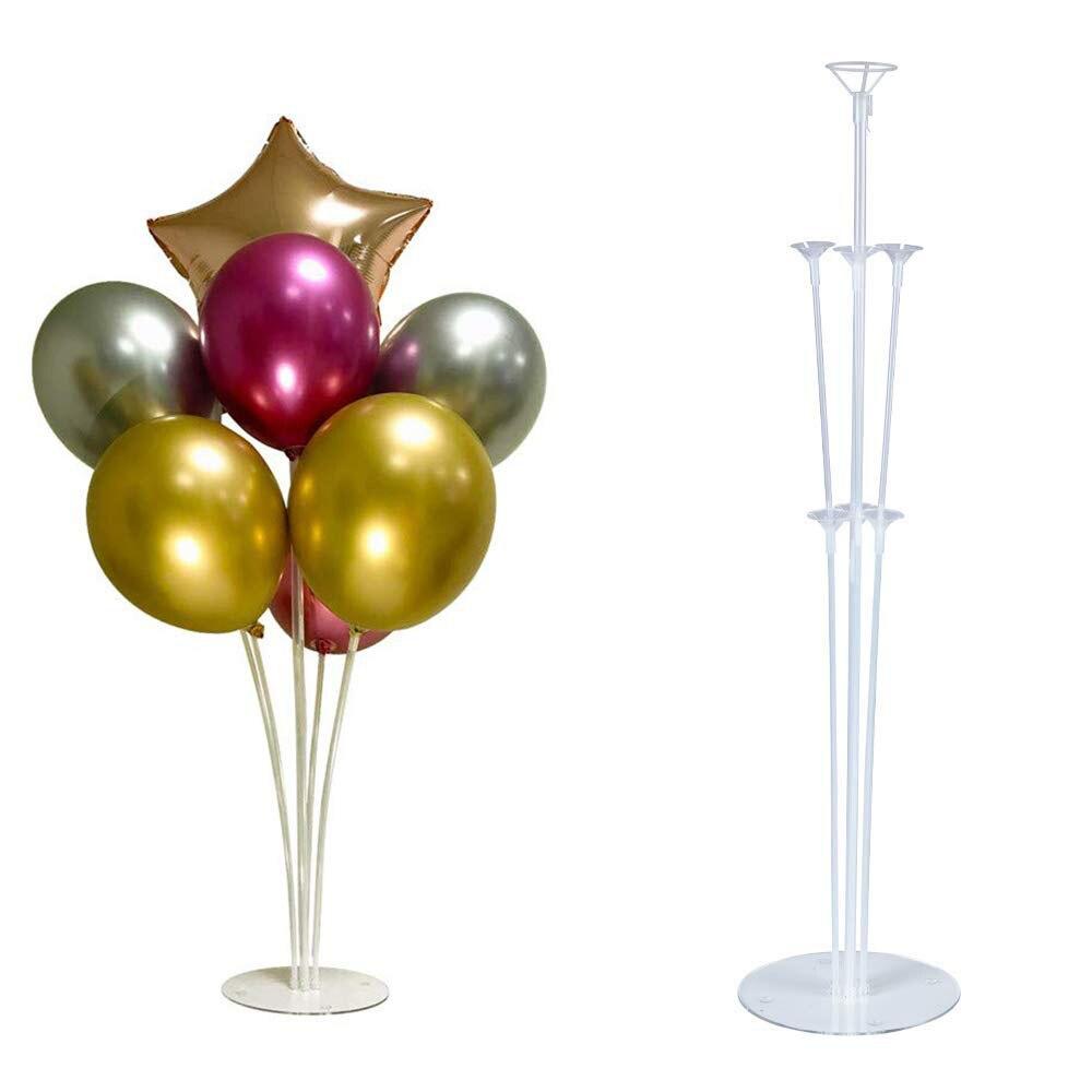 Casamento 7 tubos balões suporte da coluna suporte de balão de plástico claro decorações de festa de aniversário crianças balões de casamento garlan