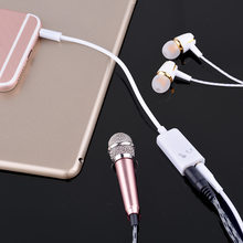 3pcs/Lot Double 3.5mm Jack Headphone Splitter Microphone Audio Adapter 2 In 1 Headphone Jack Microphone Hole for Moblie Phone(China)