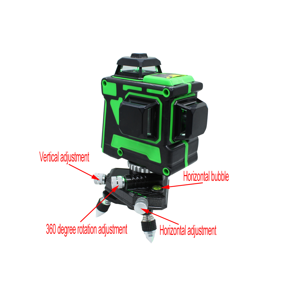 Tools : BIGGRIT B 3D 12 Green Lines Laser Level Thick Lines Self-Leveling 360 Horizontal And Vertical Cross Super Powerful Laser Beam