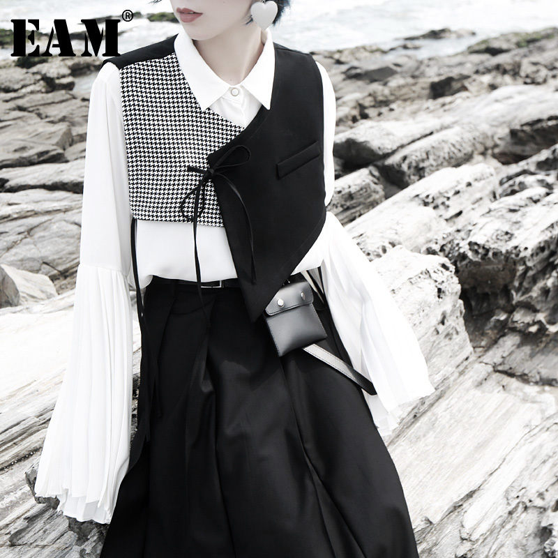 [EAM] Women Black  Plaid Split Asymmetrical Loose Fit Vest New V-collar Sleeveless   Fashion Tide Spring Autumn 2020 1H073
