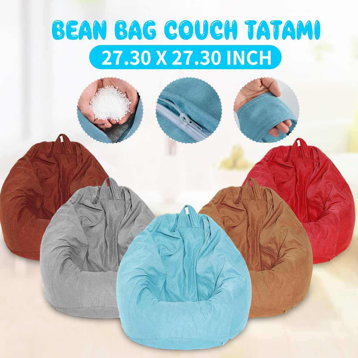 130*130cm Lazy Sofas Cover Chairs With Filler Linen Cloth Lounger Seat Bean Bag Pouf Puff Couch Tatami Living Room